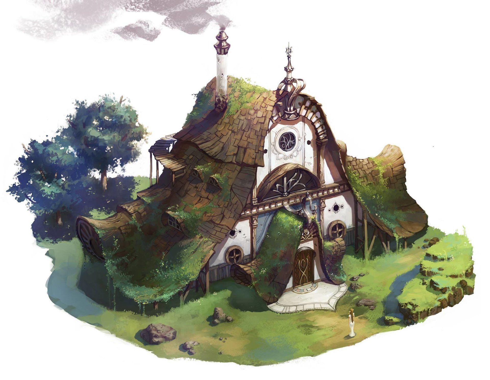 Artstation Elf House Sehee Park 環境アート 建物 イラスト
