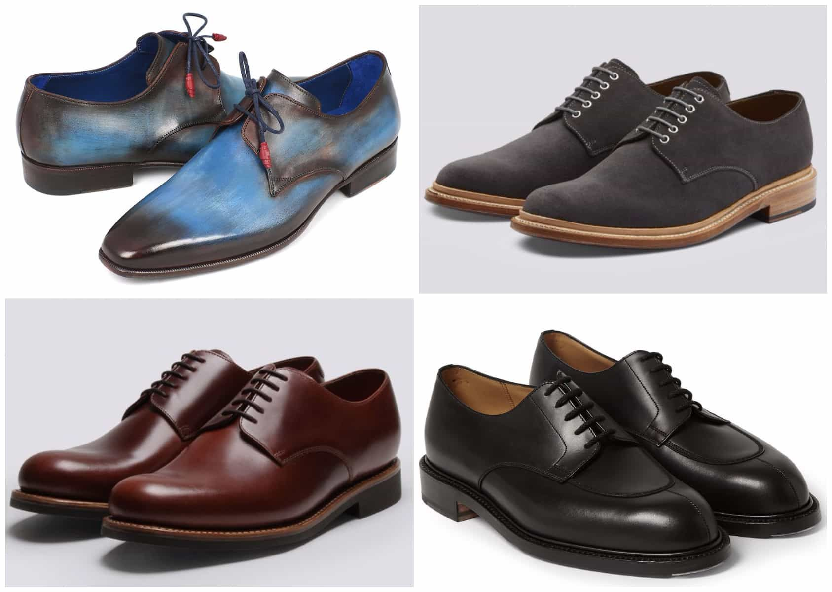 Derby Shoe Vs Oxford Vs Blucher Guide To Men S Shoe S When Where To Wear Each Mens Derby Shoes Adidas Outfit Shoes Derby Shoes