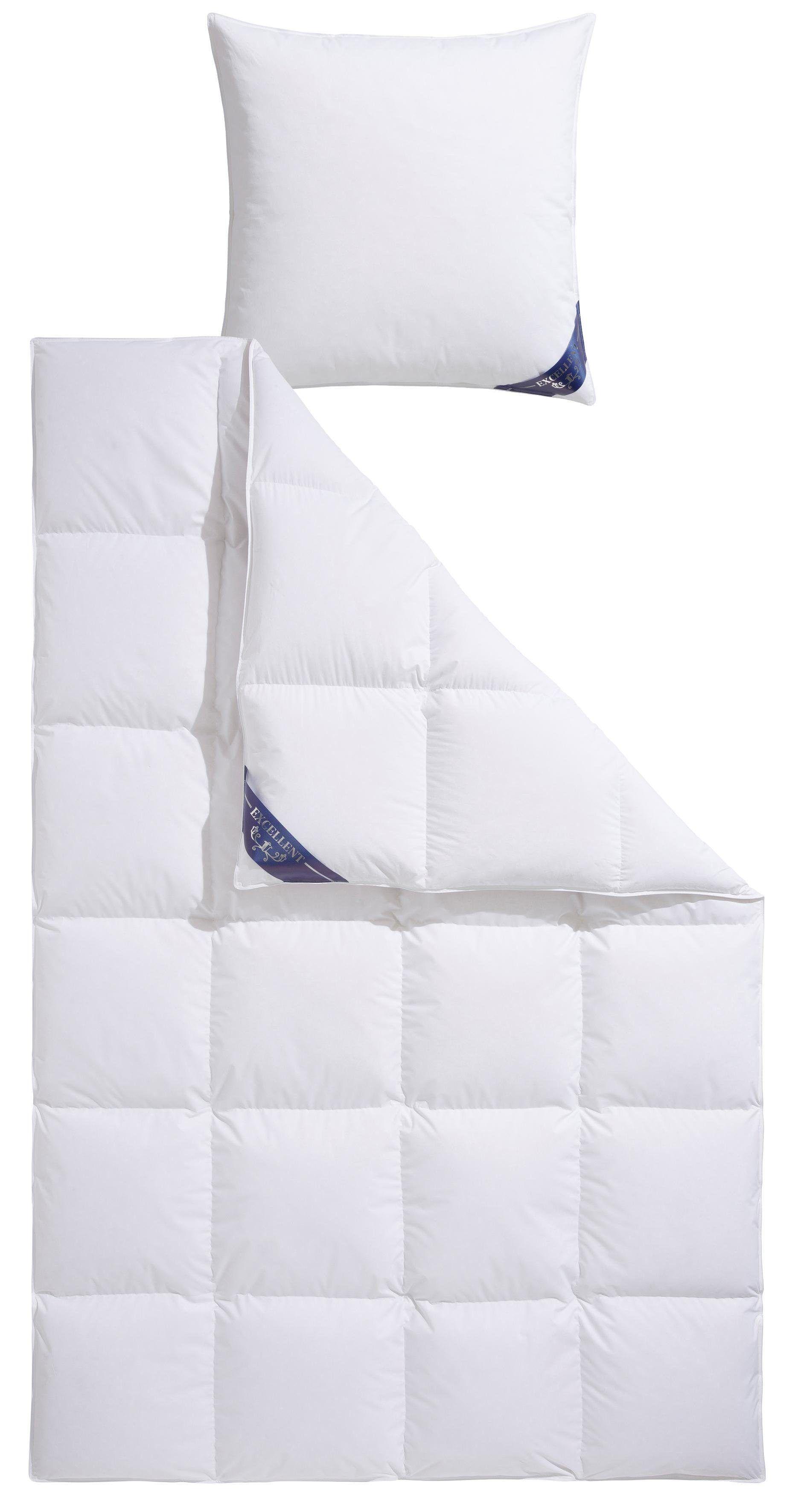 Daunenbettdecke + 3-Kammer-Kopfkissen »Venedig«, weiß, Material Baumwolle, EXCELLENT