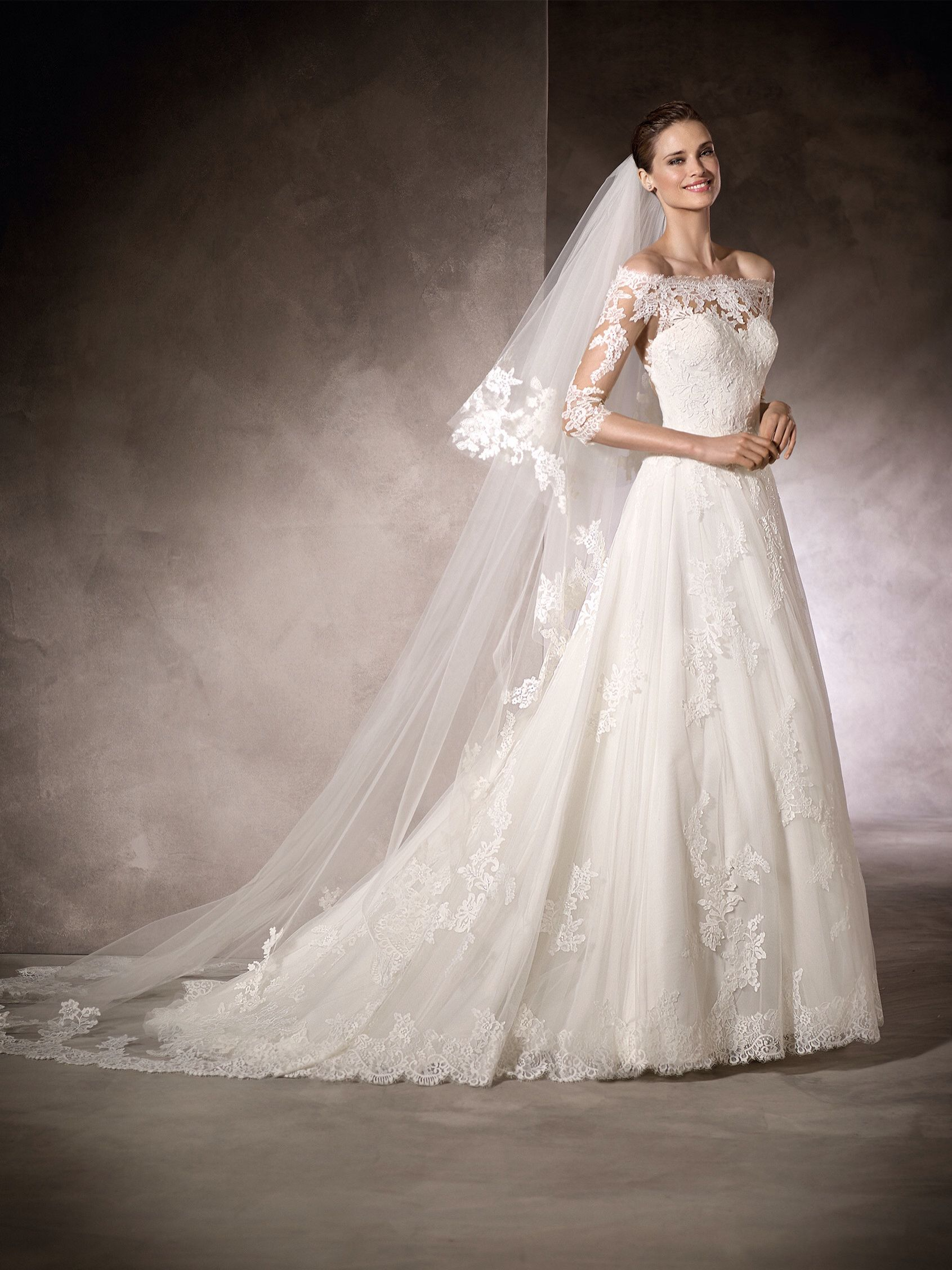 3c41bfe0e6f24 Pronovias One Kimba wedding dress with 3/4 sleeves/ off shoulder neckline/  lace
