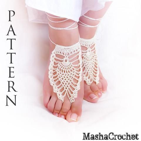 Pineapple bridal crochet barefoot sandal | Barefoot, Crochet and ...