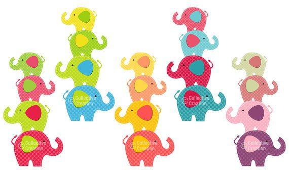 Bright Elephant Stacks Digital Clip Art by ...