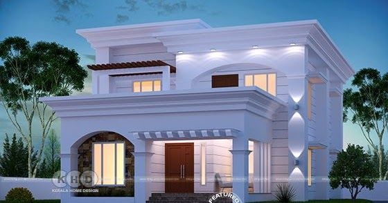 Elegant And Beautiful Flat Roof Modern Home Village House Design Kerala House Design Bungalow House Design