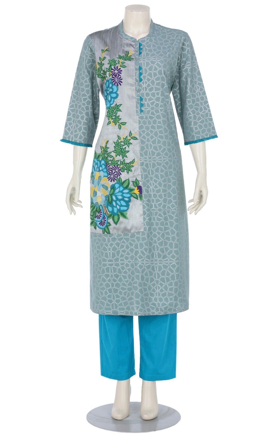 b6cb185752 Grey Printed and Embroidered Viscose-Cotton Shalwar Kameez Set ...