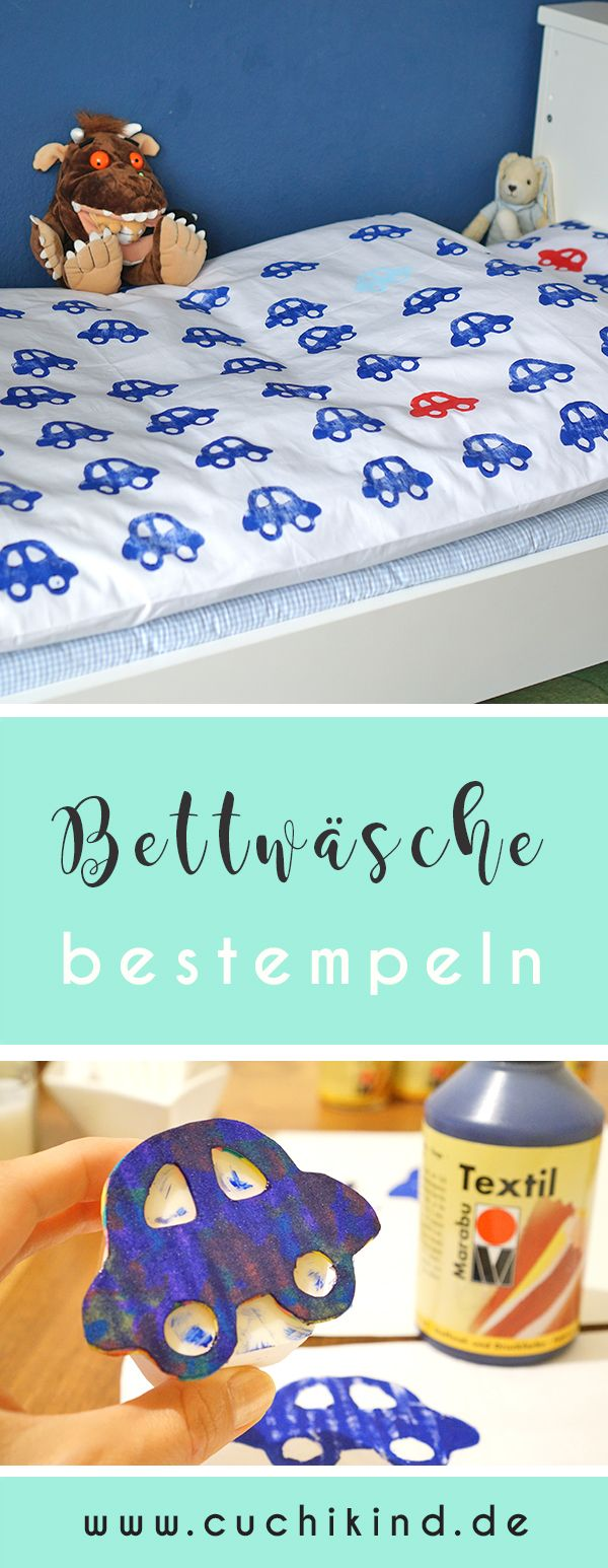 kinderzimmer diy 1 bettw sche bestempeln blog cuchikind pinterest bettwaesche. Black Bedroom Furniture Sets. Home Design Ideas