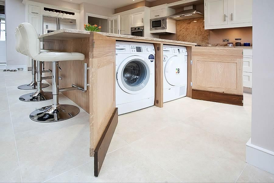 Washing Machine Under Island The Perfect Way To Store Your Utilities Designed By Kitchens By Mi Laundry In Kitchen Washing Machine In Kitchen Hidden Laundry