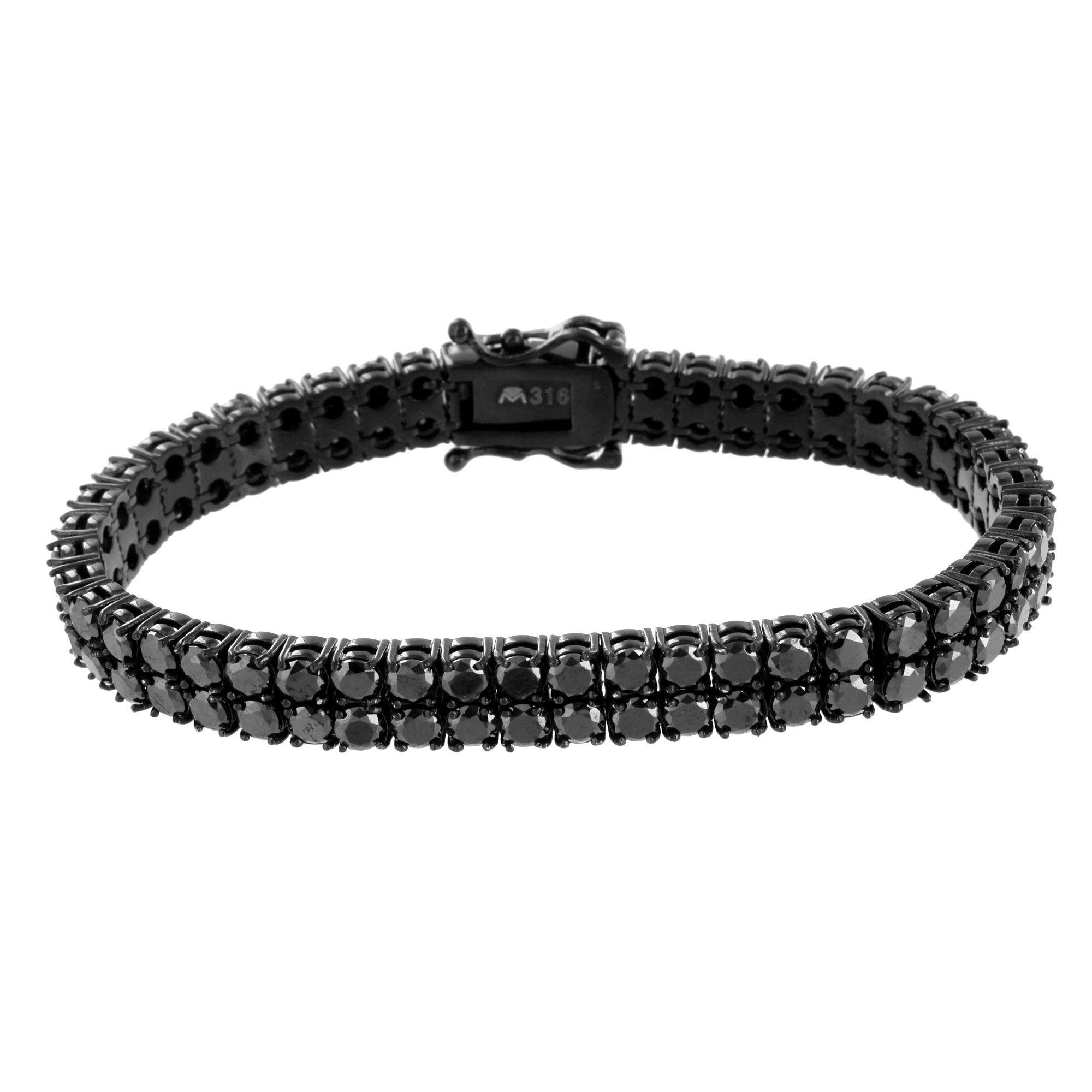 2 Row Tennis Bracelet Mens Round Cut Black Lab Diamonds Black