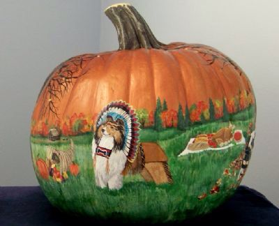 Thanksgiving painted Pumpkin