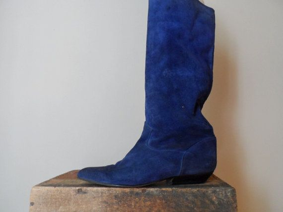 Navy Blue Suede Boots 80's Vintage