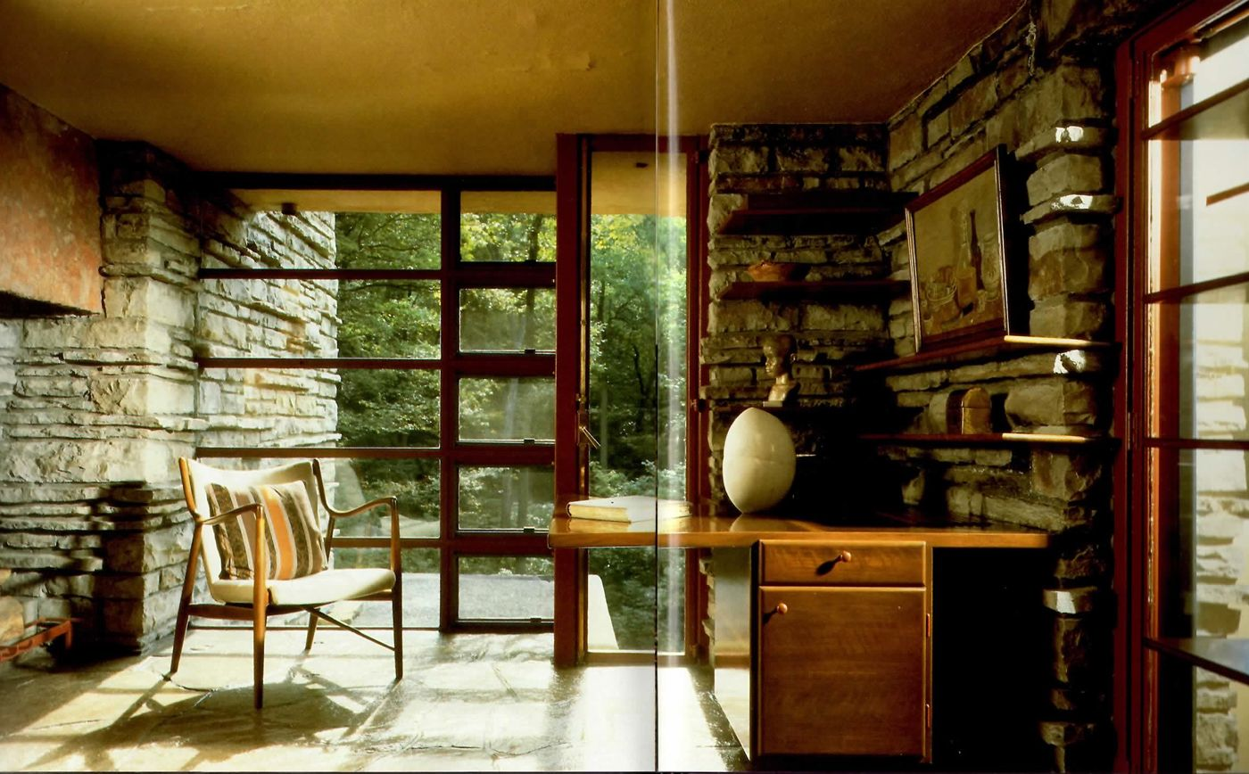 Fallingwater interior falling water house falling waters home interior design falling water