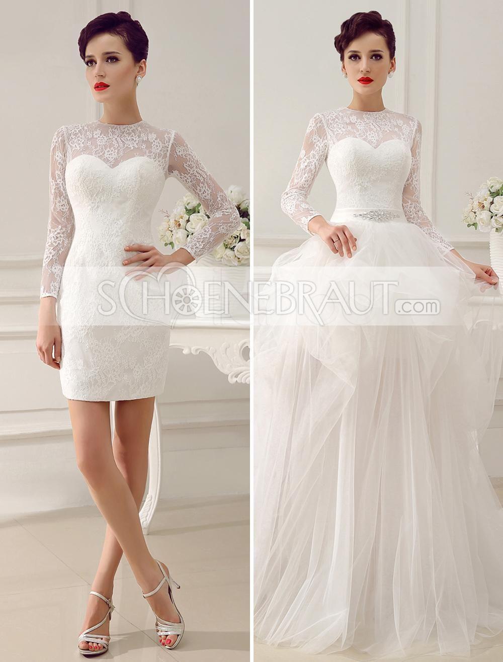 Etui und A Linie Brautkleid mit Spitze und Ärmel mit abnehmbarem
