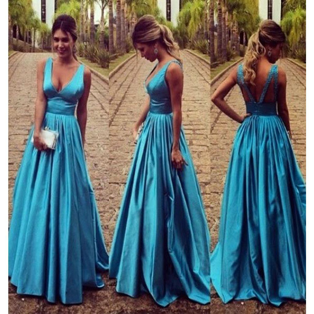 Long Blue Ball Gown Vintage V-Neck Formal Sleeveless Evening Party ...