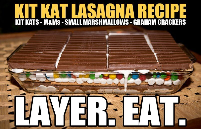 Graham Crackers, mini marshmallows, M & M's, Kit Kat Bars - layer.  Bake for 5 to 10 min. to melt everything and then enjoy!!!