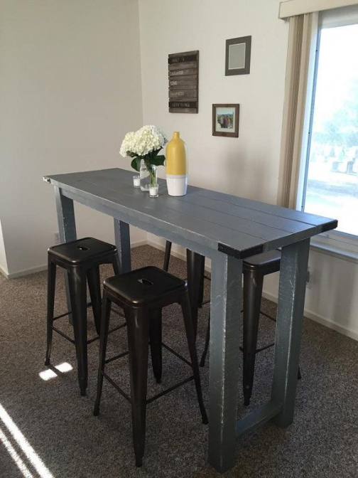 Rustic Bar Height Table By Reimaginedwoodcraft On Etsy Smallwoodcrafts Diy Kitchen Table Small Kitchen Tables Wood Bar Table