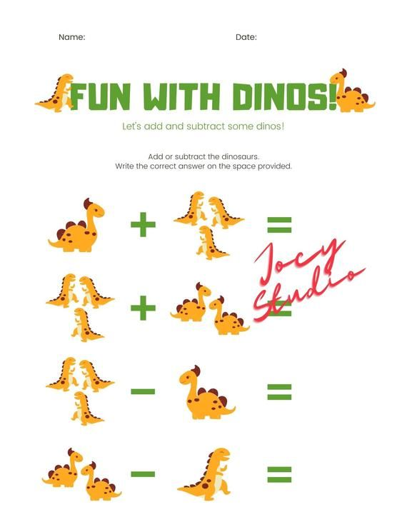 Photo of Dino Math Printable, Math Worksheets, Home School, Teacher, Printable, PDF, K-3