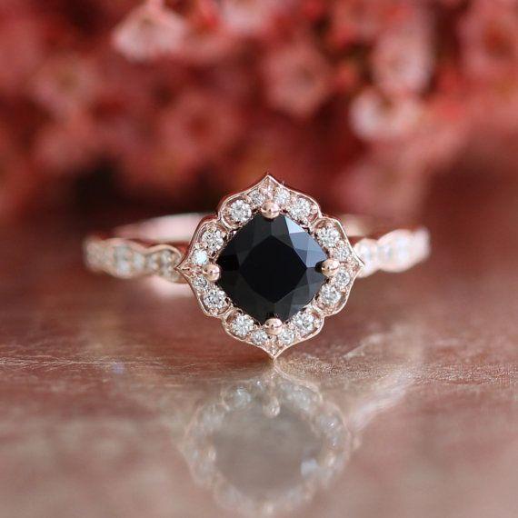 Mini Vintage Floral Black Spinel Engagement Ring In 14k Rose Etsy Black Diamond Ring Engagement Black Diamond Ring Spinel Engagement Rings