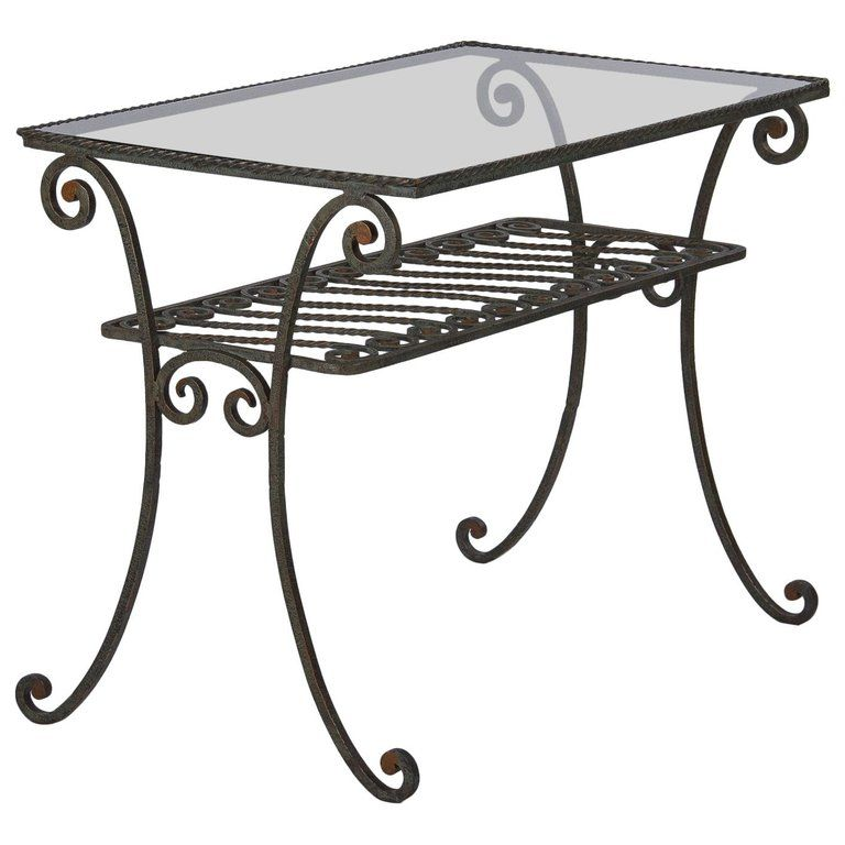 French Wrought Iron Console Table With Glass Top 1940s Wrought