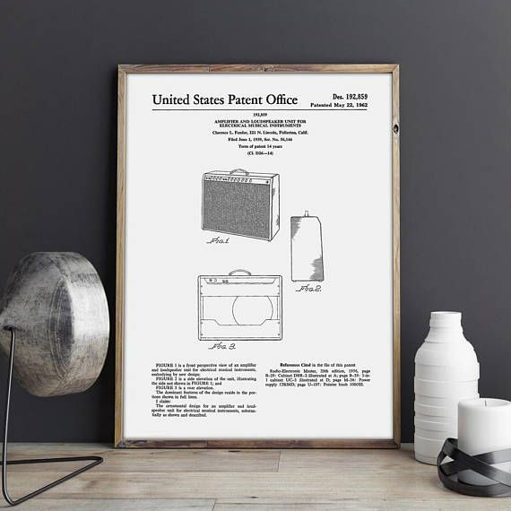 Fender Amplifier, Guitar Art Poster, Amplifier Blueprint, Fender Art Print, Guitar Amplifier, Fender Art Poster, Amp Print, INSTANT DOWNLOAD #PTP0093  The patent print is a fabulous quick gift, a unique accent in your home and office interior. Printable art is a perfect way to impress your friends, family, colleagues. A good choice to surprise people who already have everything.  Our quick and creative prints will brighten anyones day. More than 500 various images for a variety of interests…