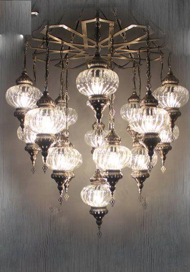 Chandelier Lamps Ottoman Palace Shape Frame 16 Glass