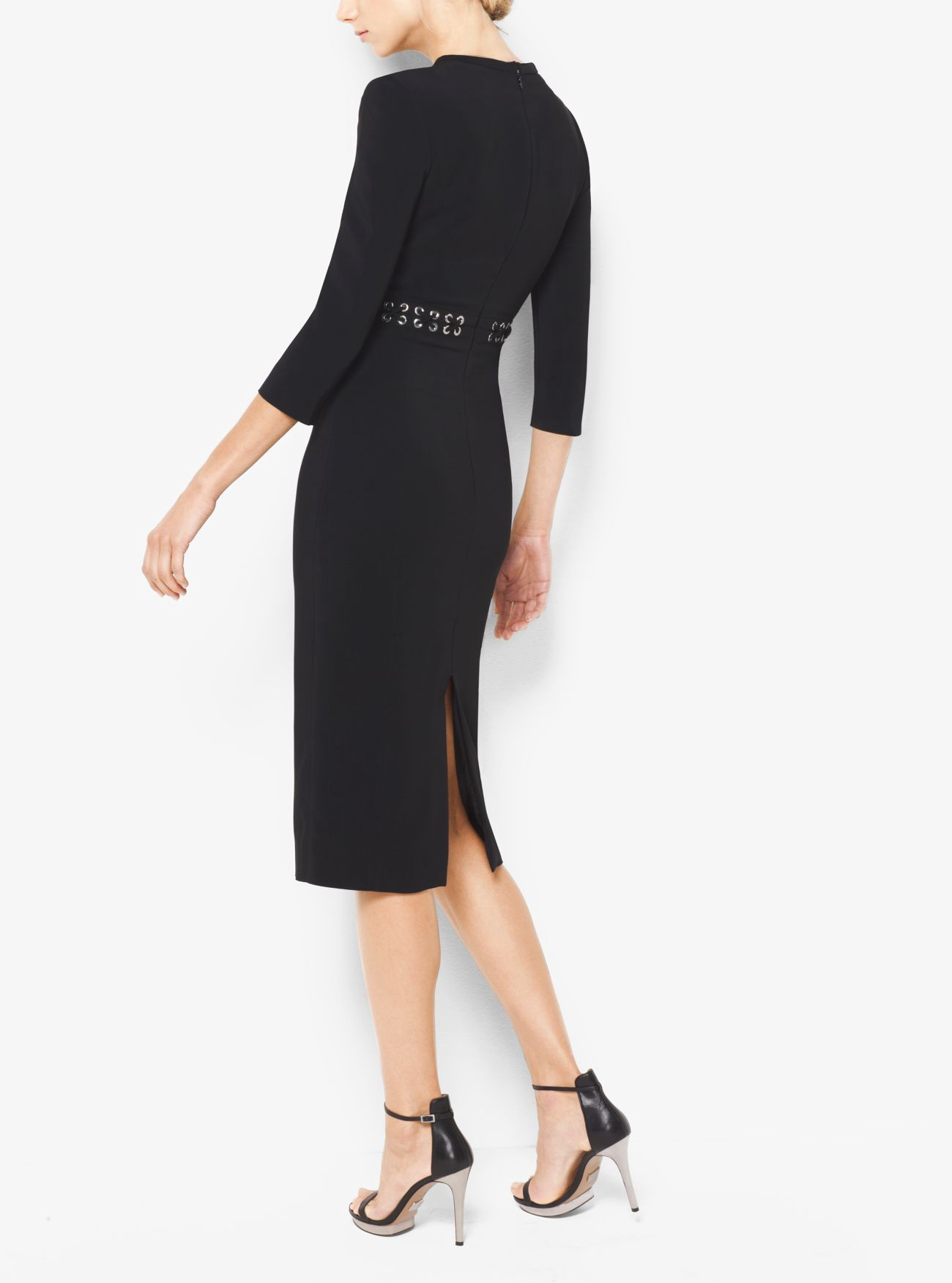 80de29374de1 MICHAEL Michael Kors Stretch-Viscose Peekaboo Midi Dress | Quick Saves |  Dresses, Black midi dress, Stretches