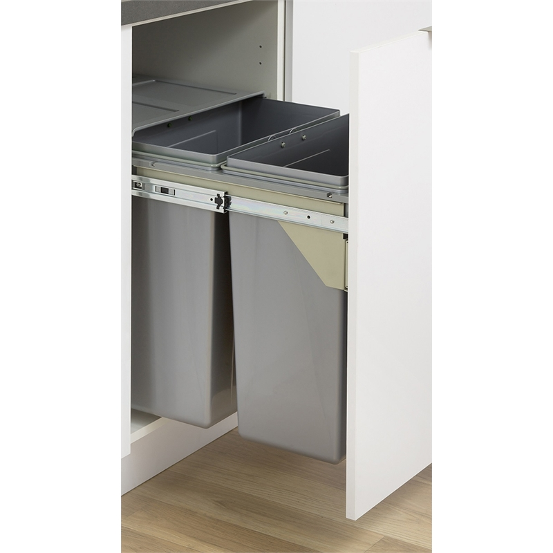 kaboodle 2 x 31l grey side mount pullout bins in 2020 kitchen storage storage hinges for on kaboodle kitchen bunnings drawers id=15312