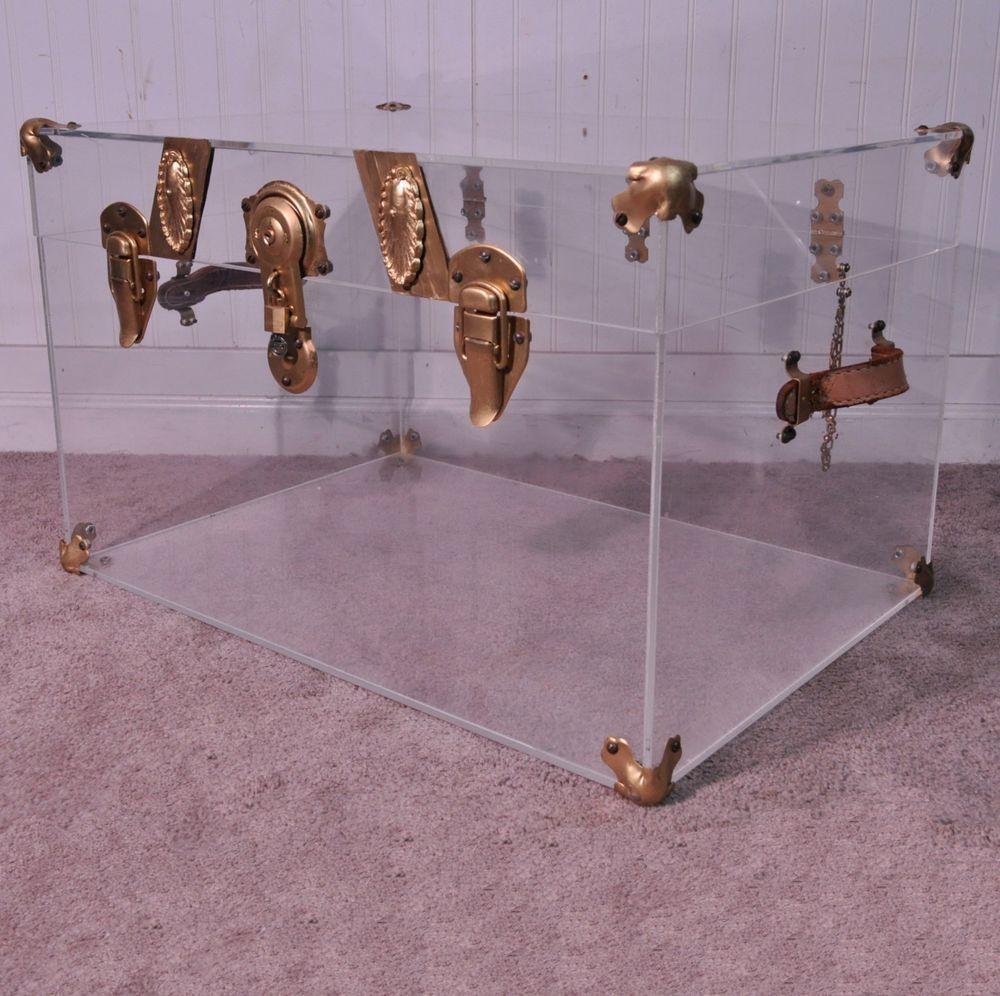 Vtg Mid Century Modern Hollywood Regency Lucite Acrylic Trunk Chest Coffee Table #MidCenturyModern