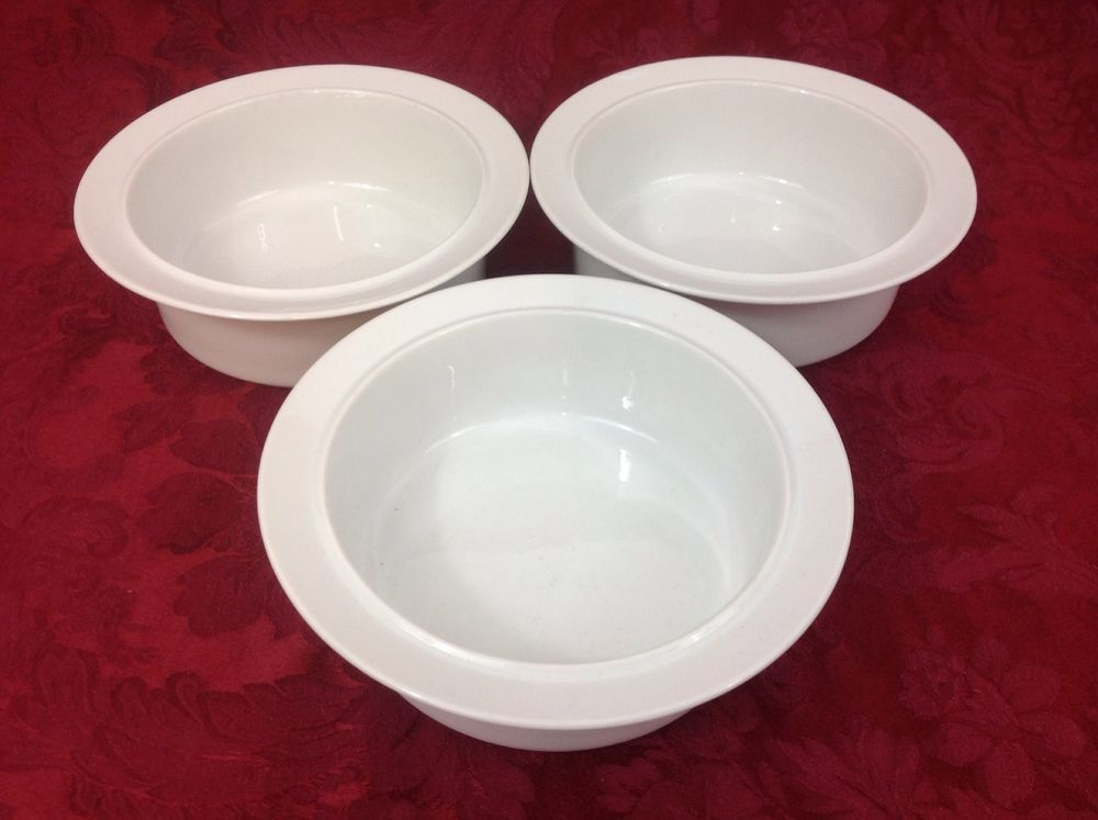 Dansk Cafe Blanc Three White Fruit Cereal Bowls Thailand