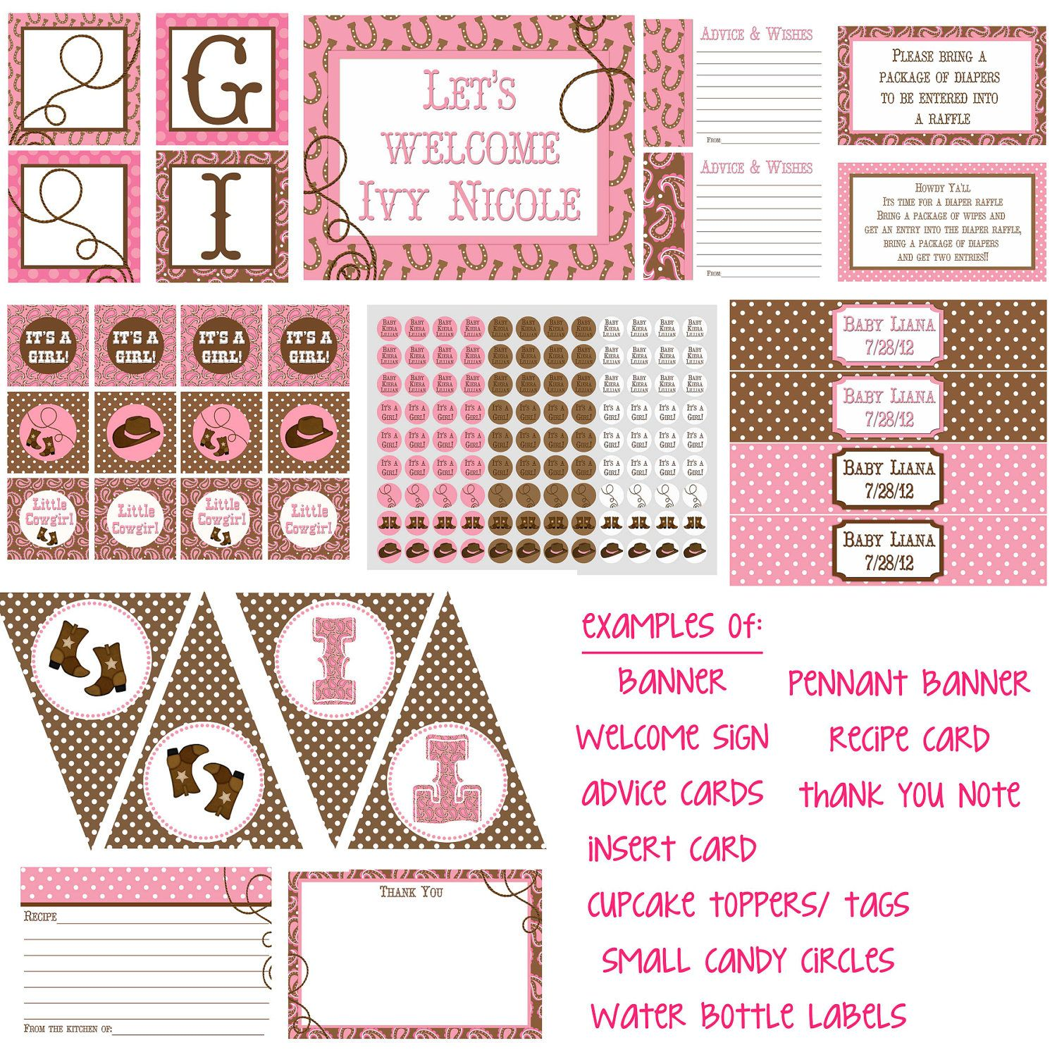 Little Cowgirl Pink Baby Shower Invitation 4x6 or 5x7 digital you ...