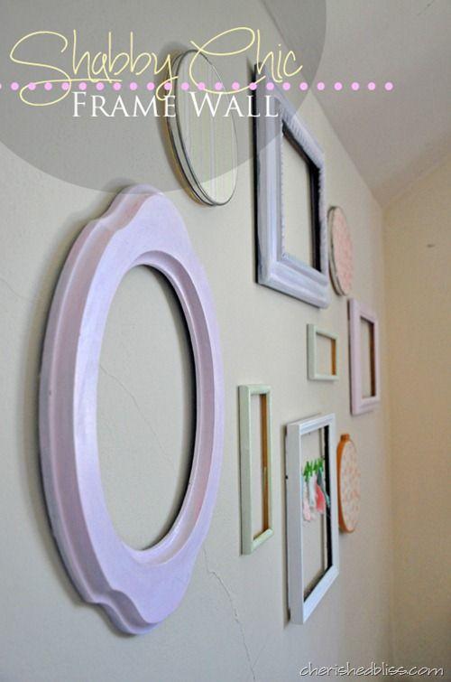 Shabby Chic Frame Wall | Pinterest | Shabby chic frames, Shabby and ...