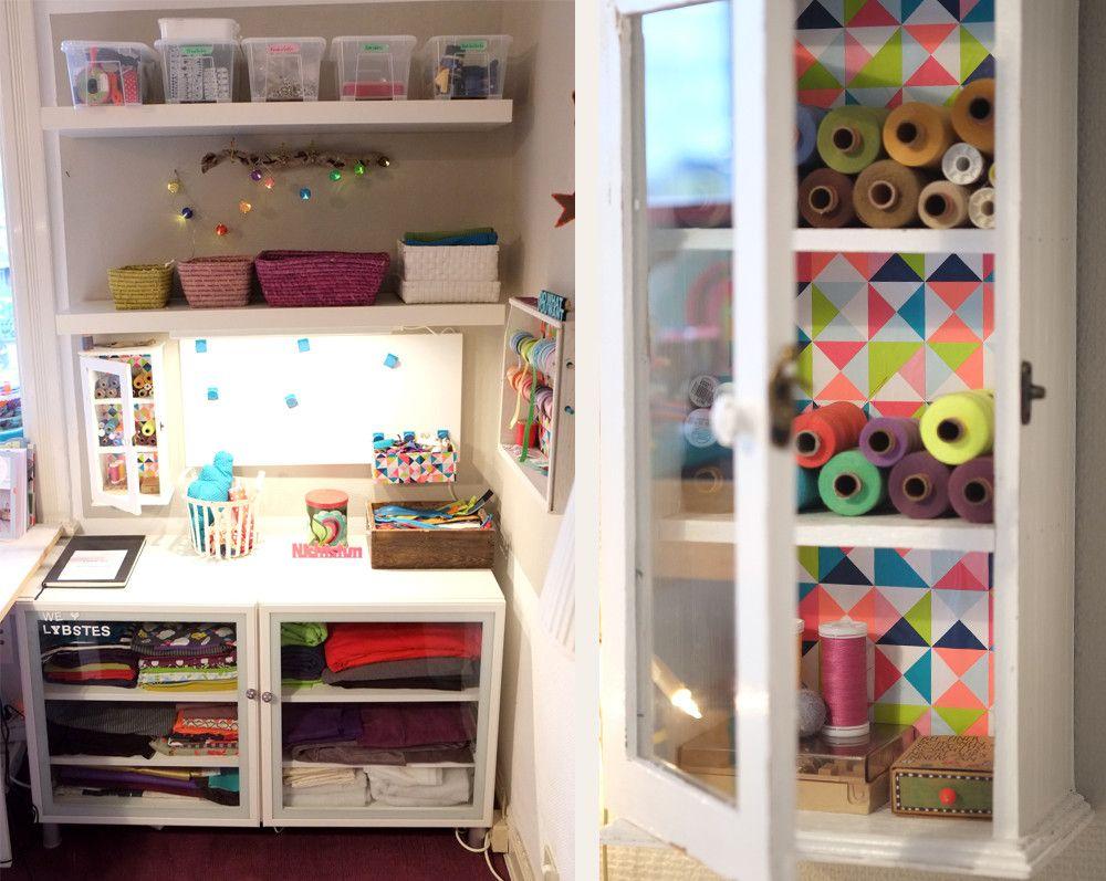 lybstes garnrollen schrank arbeitsplatz zum n hen wohnzimmer pinterest sewing craft. Black Bedroom Furniture Sets. Home Design Ideas