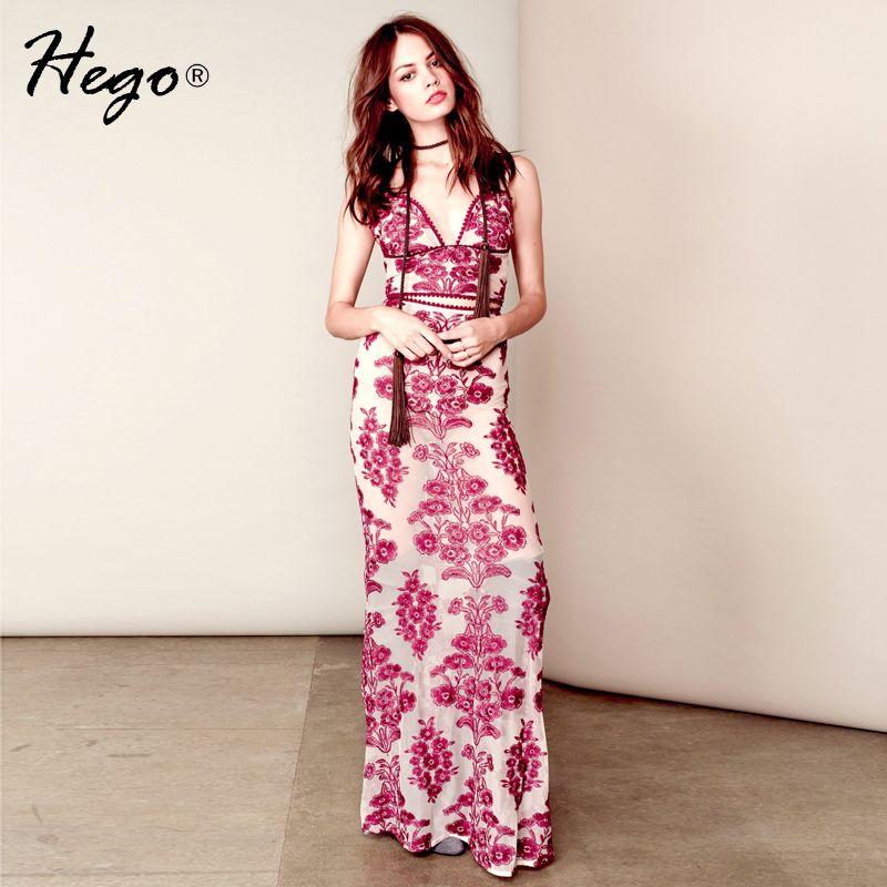 Barato Hego 2016 New Lace bordado Floral V profundo 2 peça conjuntos vestido de alça BJ04016, Compro Qualidade Vestidos diretamente de fornecedores da China: