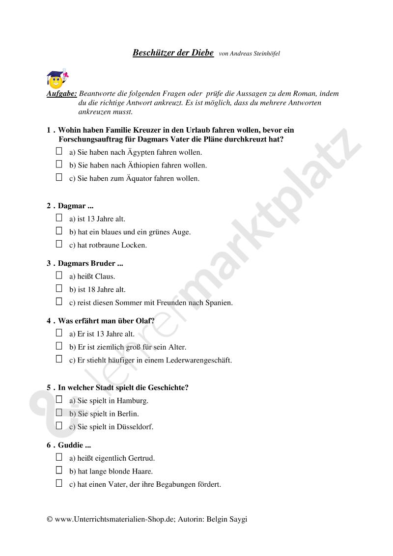 Literaturtest zu dem Roman | Bestseller | Deutsch Sek. I ...