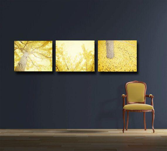 Yellow Wall Art, Canvas Gallery Wraps Set of 3 Three, Tree ...