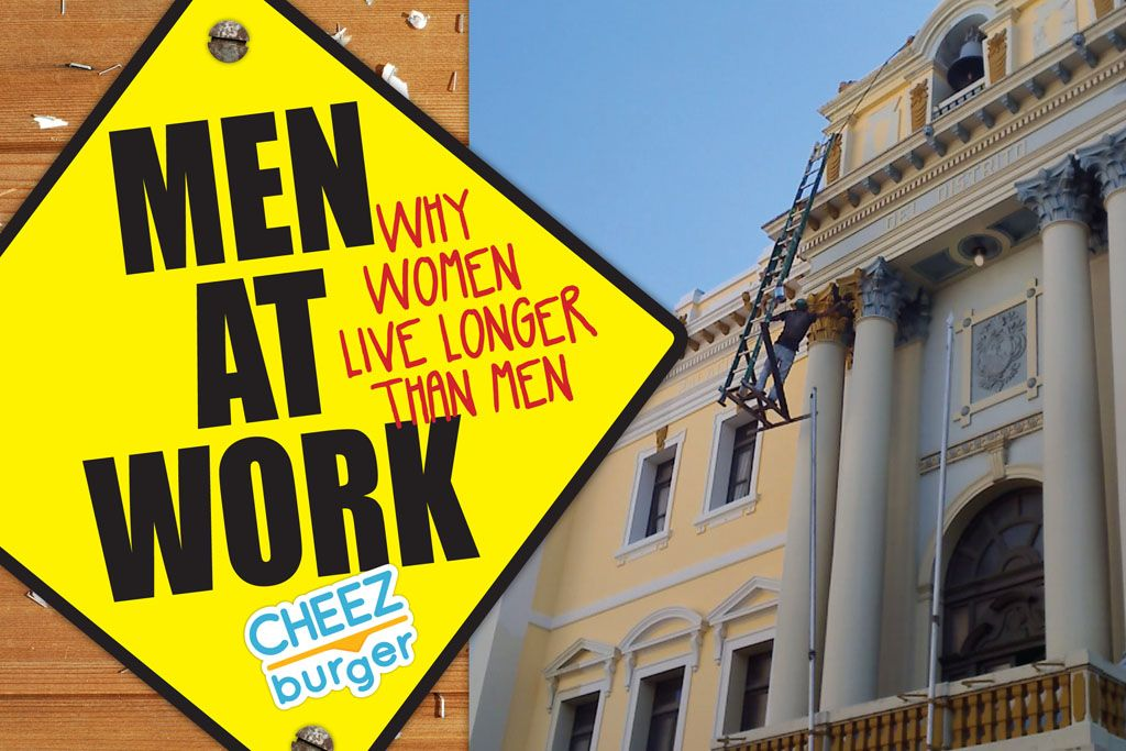 """""""Men at Work: Why Women Live Longer Than Men"""" by Cheezburger Network. From the New York Times best-selling author/website Cheezburger Network, a hilarious compilation of over 100 photos featuring the heights of male incompetence."""