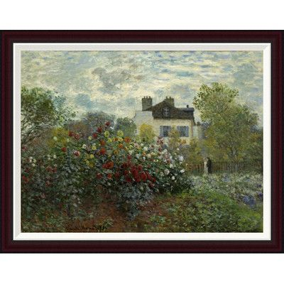 "Global Gallery The Artist's Garden At Argenteuil by Claude Monet Framed Painting Print Size: 28"" H x 36"" W"
