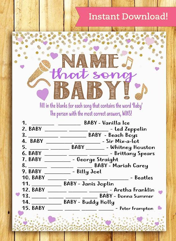 Baby Shower Game Name That Song Baby Pretty Purple