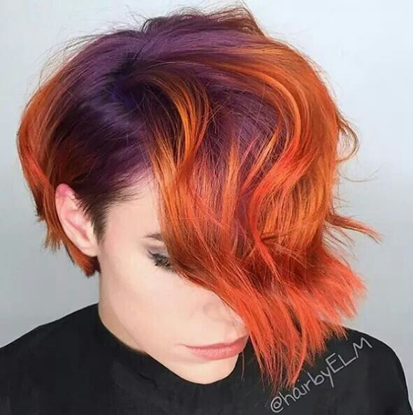 Purple And Orange Hair Hair Styles Short Hair Styles Red Hair Color