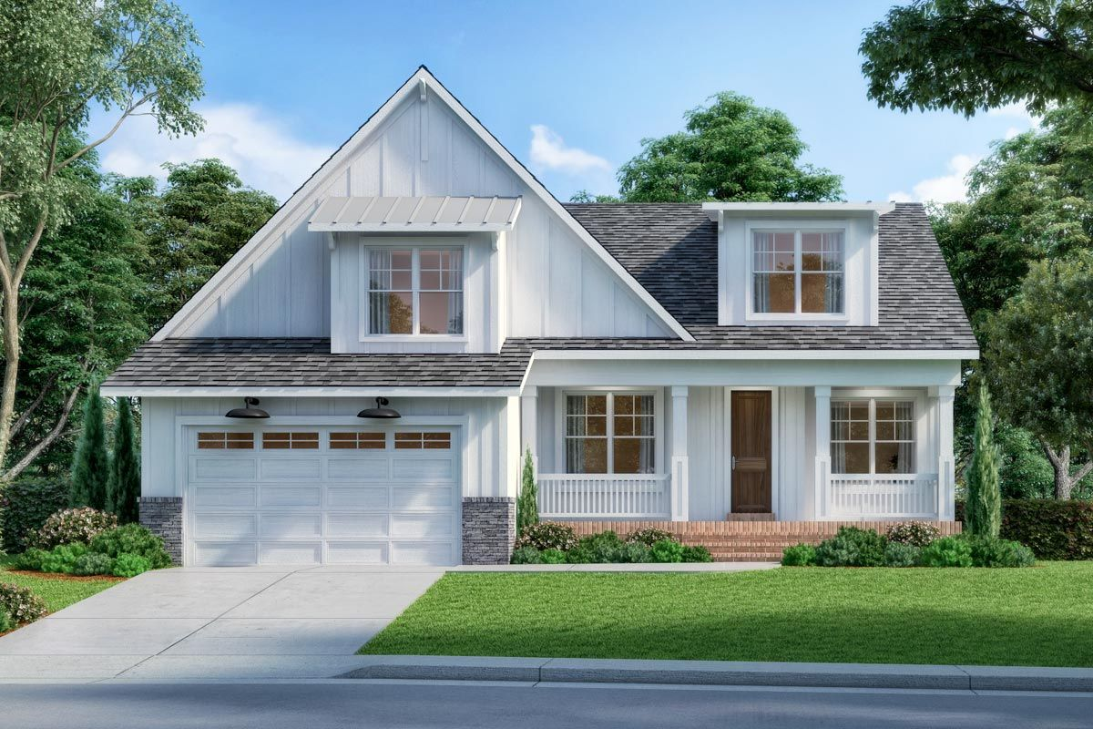 Plan MRK New American Farmhouse Plan with Kids Room Upstairs