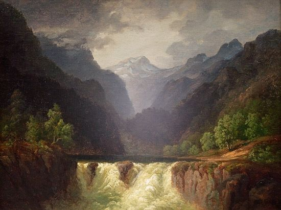Fjellandskap Med Fossestryk By Thomas Fearnley Landscape Artist Scandinavian Paintings Landscape Art