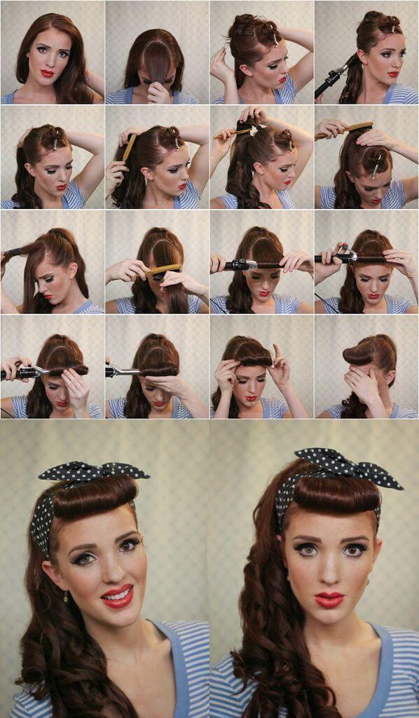 peinado pin up con flequillo recto - Peinados Pin Up