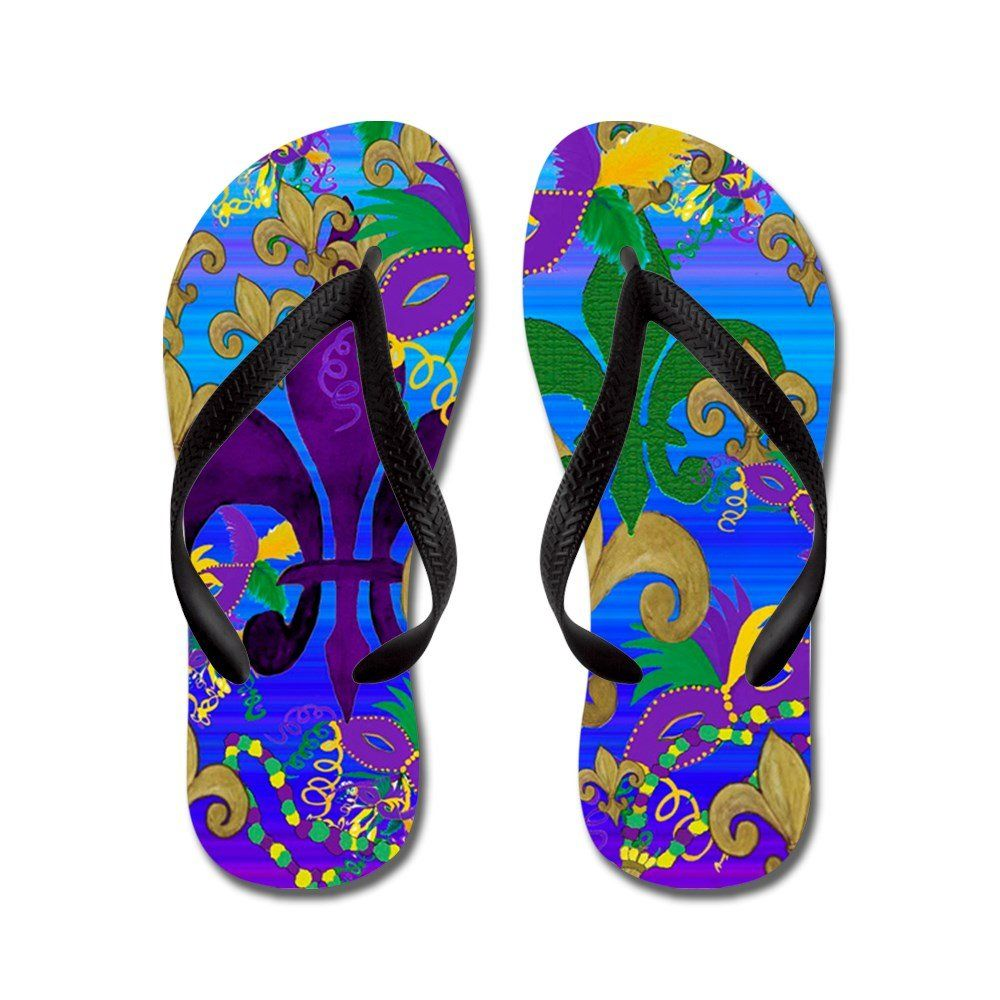 ad812de6e52e CafePress Mardi Gras Psycadelic Fleur De Lis - Flip Flops
