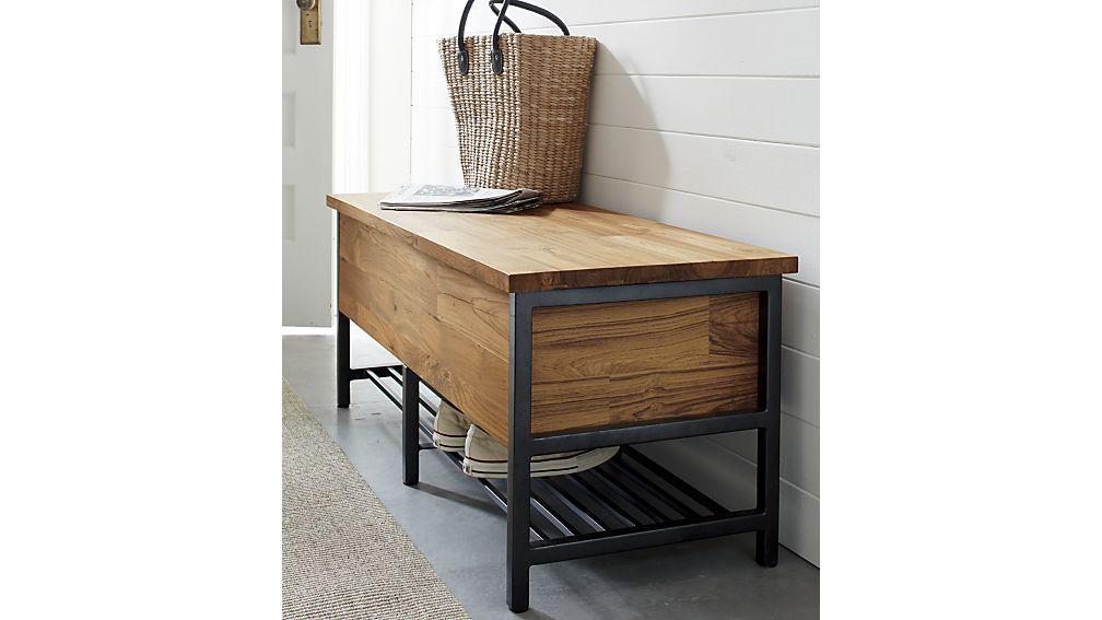 teca storage trunk bench reviews crate and barrel storage rh pinterest com