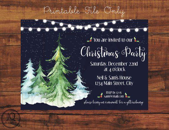 Printable Christmas Party Invitation, Holiday Party Invite, Tree
