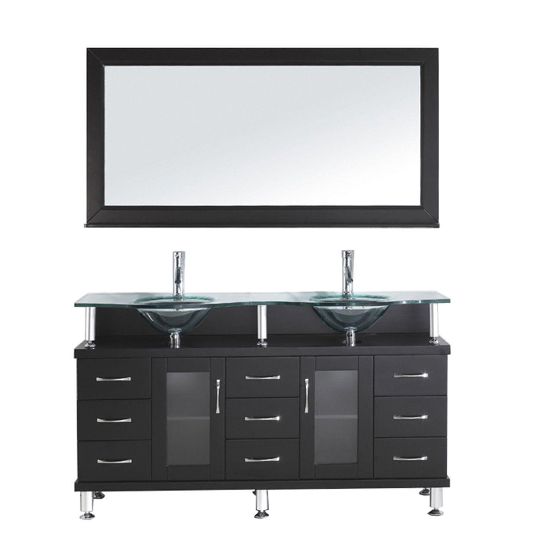 Virtu Usa Vincente Rocco 59 Glass Vanity Bathroom Sink Vanity
