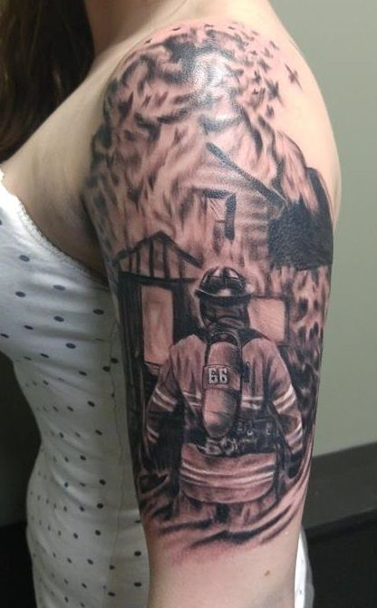 Firefighter tattoo by harley gray firefighter tattoos for Tattoo shops in winston salem nc