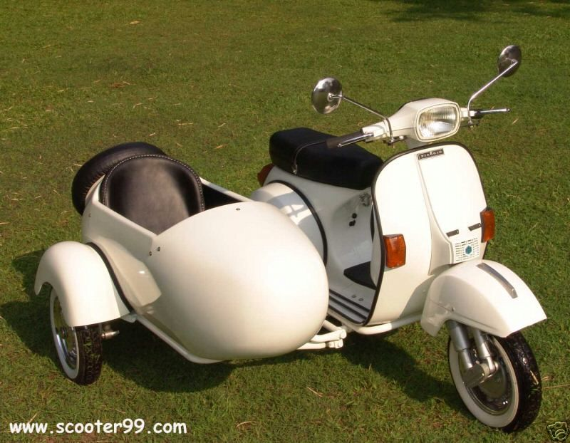 vintage vespa piaggio sidecar - joni and i would look dashing on