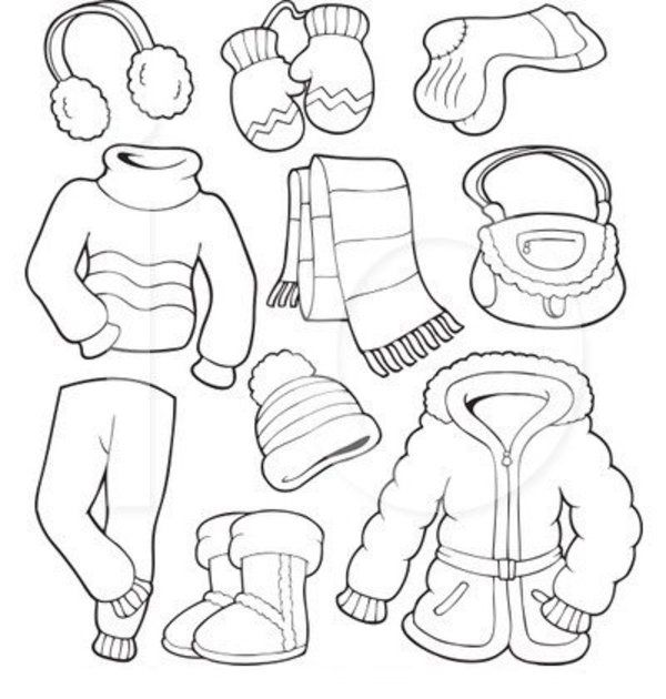 Winter Clothes Coloring Page With Names
