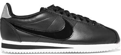 Classic Cortez Patent-trimmed Leather Sneakers - Black Nike