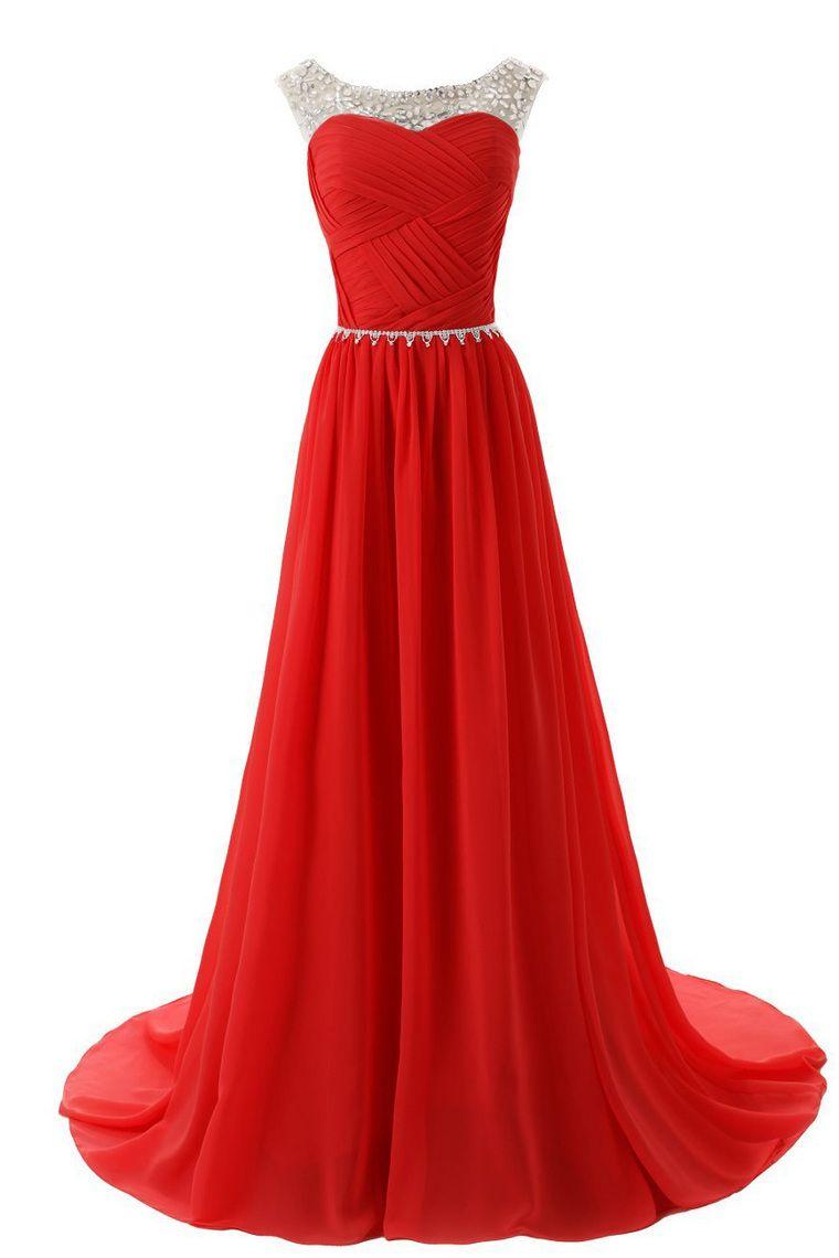 12 Scoop Vestidos de baile una línea blusa plisada de gasa con