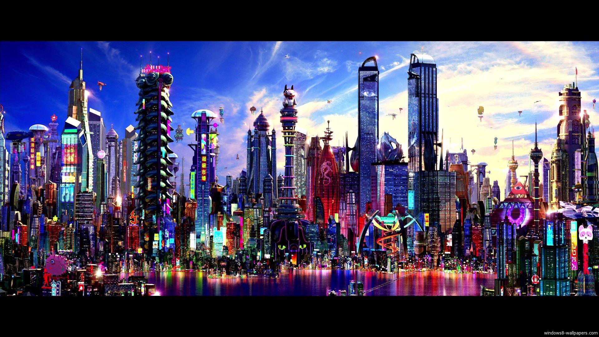 City With Colorful Buildings Colorful City Wallpaper Futuristic City Cityscape Wallpaper Cityscape